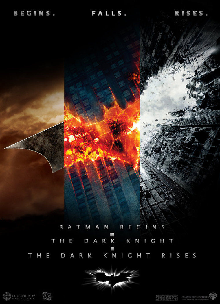 Batman begins falls rises triptych poster the edge of the frame advertisements voltagebd Images